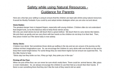 Outdoor Learning Parent Safety Information Sheet