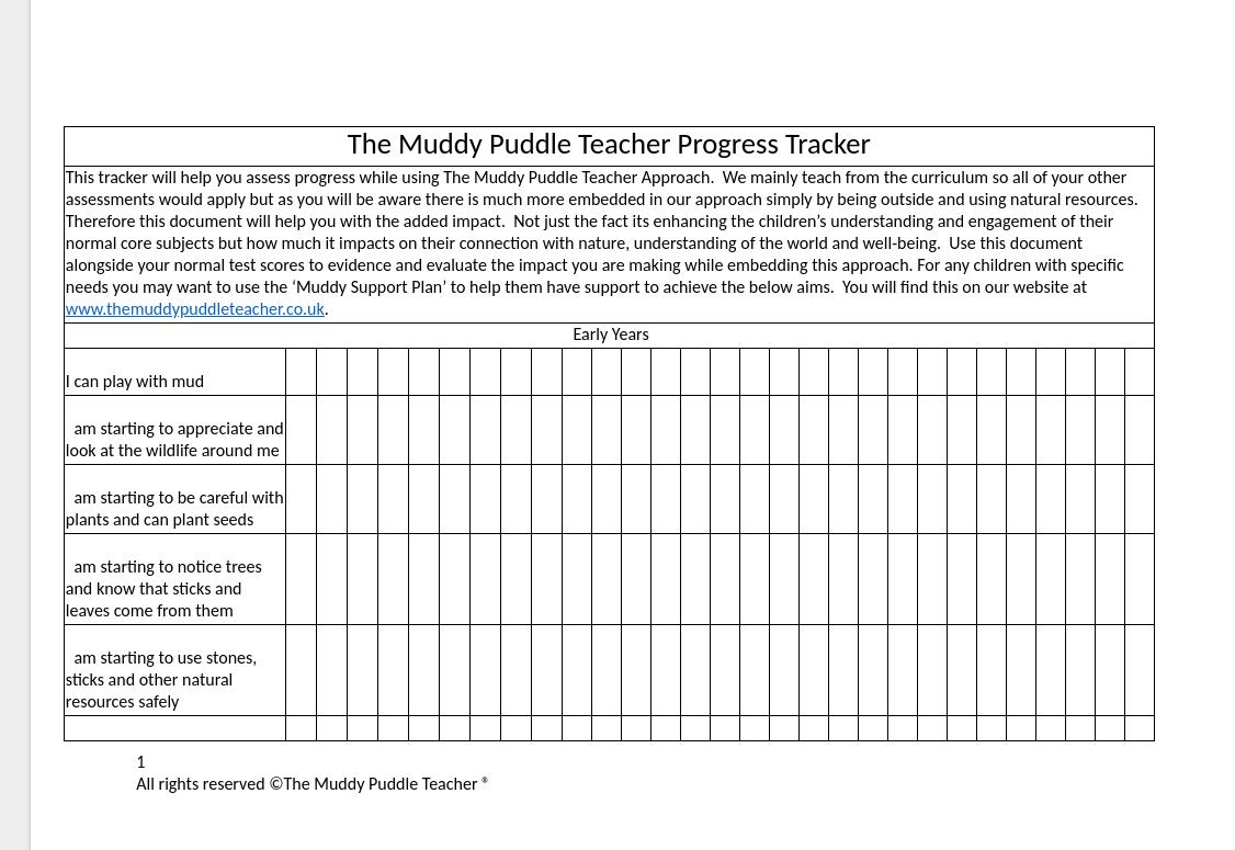 Outdoor Learning Progress Tracker