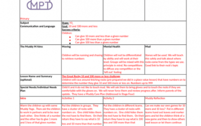 Primary Outdoor Lesson Plan Sample