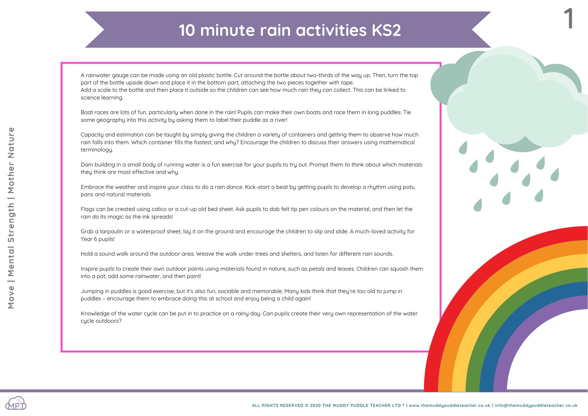 10 minute rain activities (KS2)