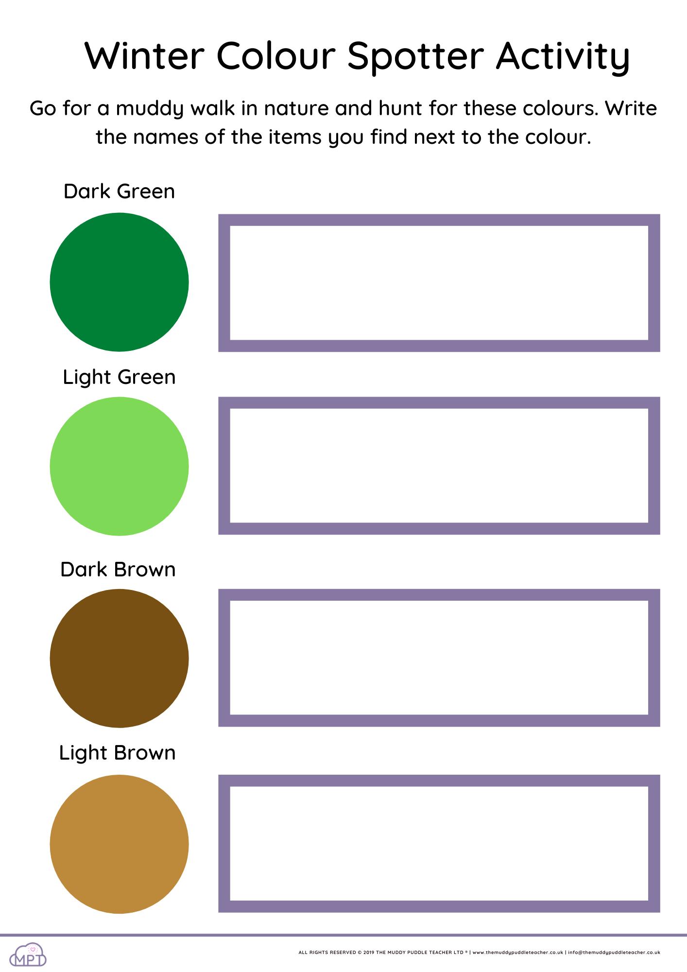 colour spotter sheet