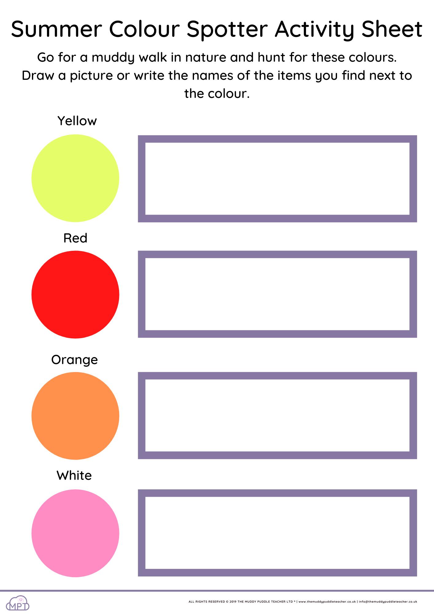 Summer Colour Spotter Activity Sheet