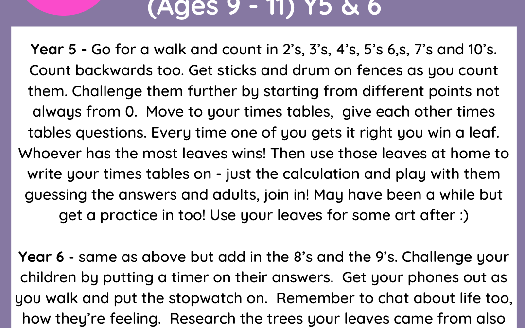 Day 1 – Whole School Lockdown Pack – Maths Theme – Outdoor Learning (Babies to Year 6)