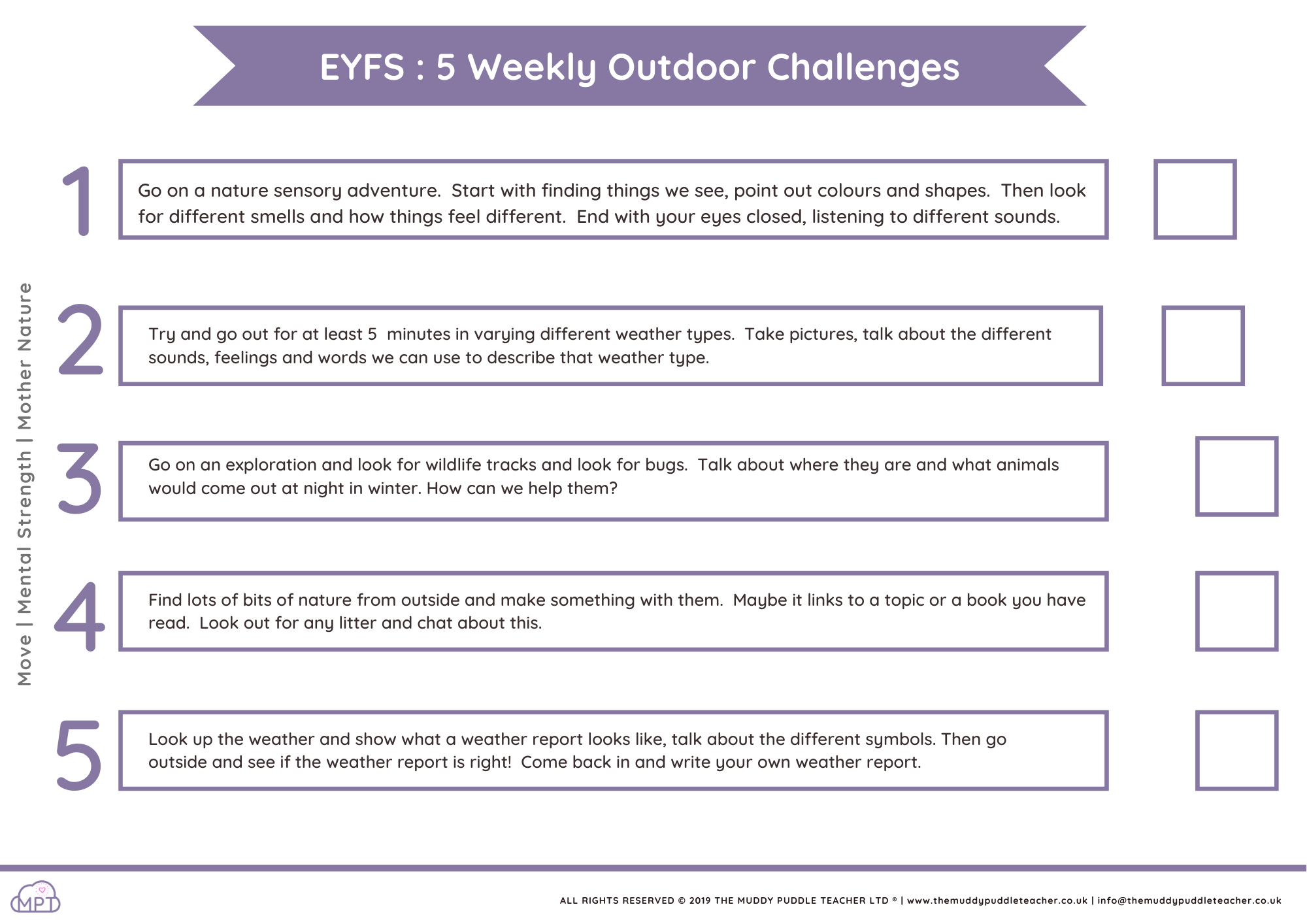 daily challenges eyfs
