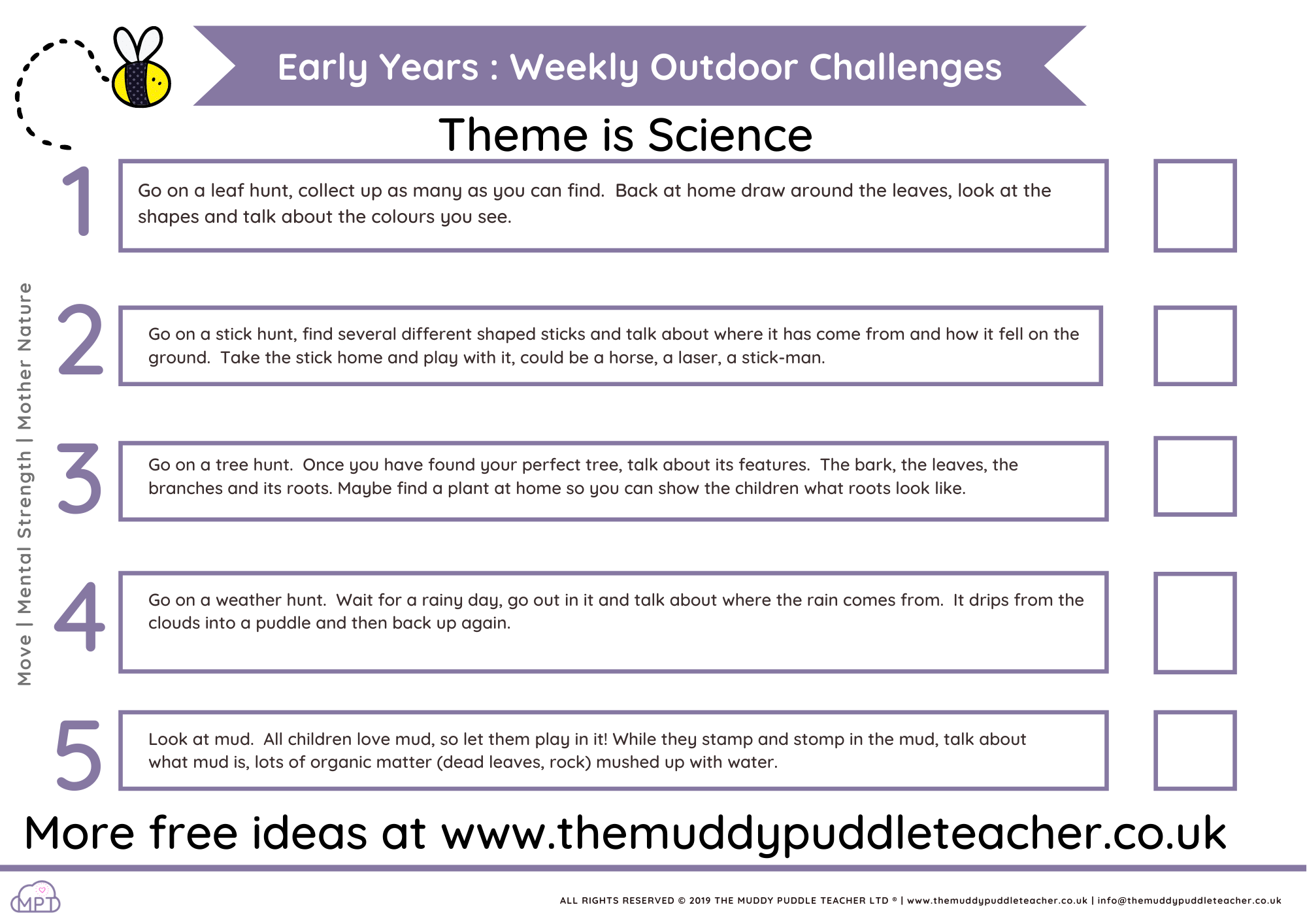 Early Years Weekly Outdoor Challenges (Science KUW Theme)