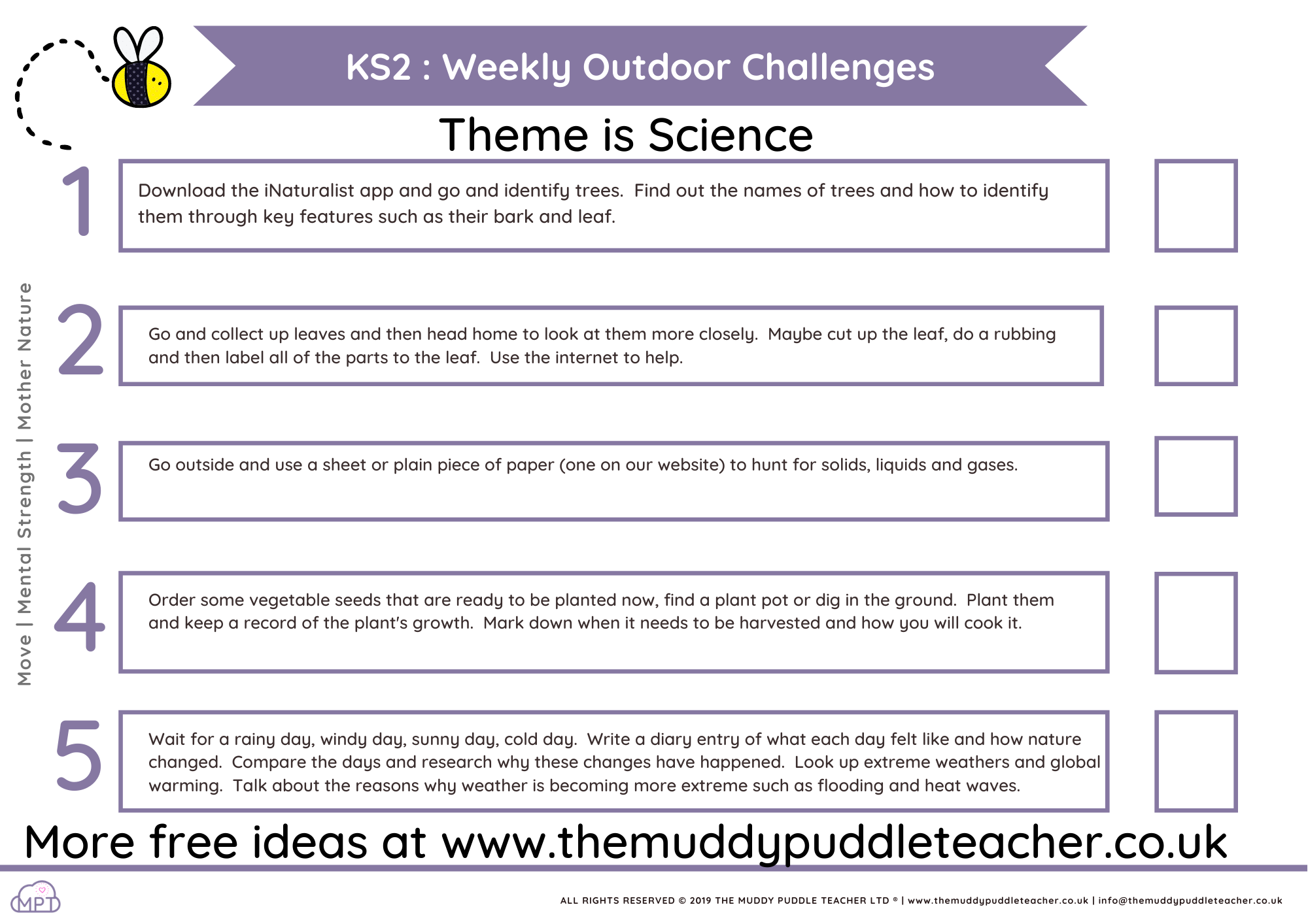 KS2 Weekly Outdoor Learning Challenges (Science Theme)