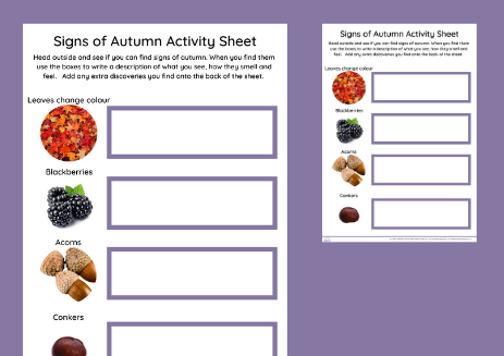 Signs of Autumn Explorer Sheet