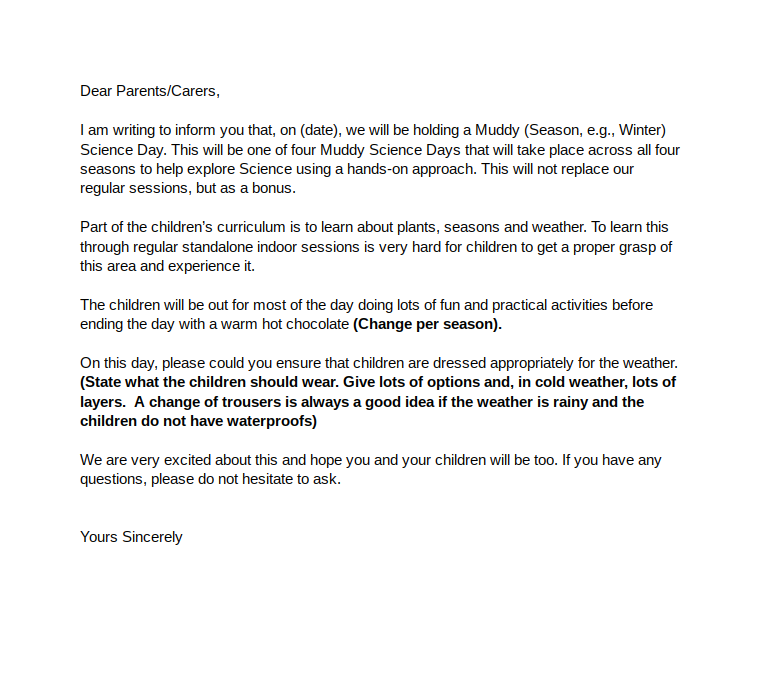 Muddy Science Day (Parent Letter)
